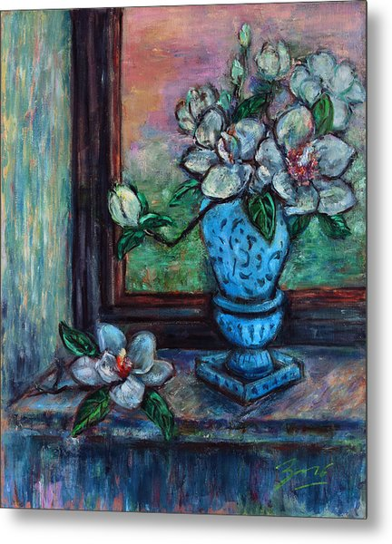 Magnolias In A Blue Vase By The Window Metal Print