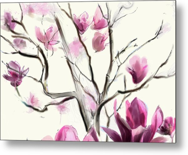 Magnolias In Bloom Metal Print