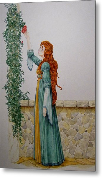 Maiden And The Rose Metal Print by Theresa Higby