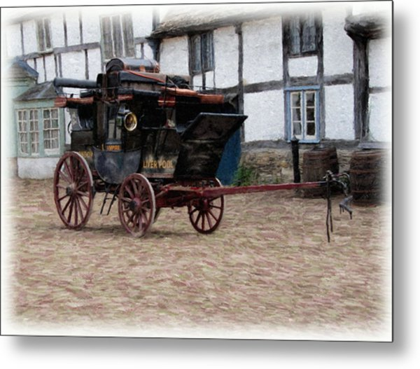 Metal Print featuring the digital art Mail Coach At Lacock by Paul Gulliver