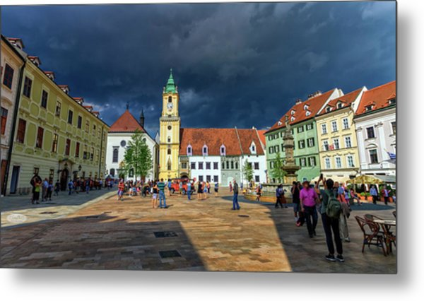 Main Square In The Old Town Of Bratislava, Slovakia Metal Print