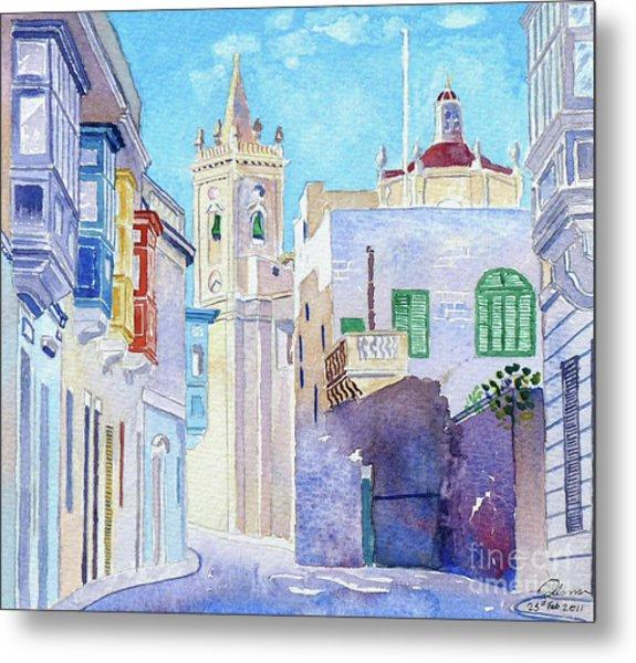 Main Street Balzan Malta Metal Print