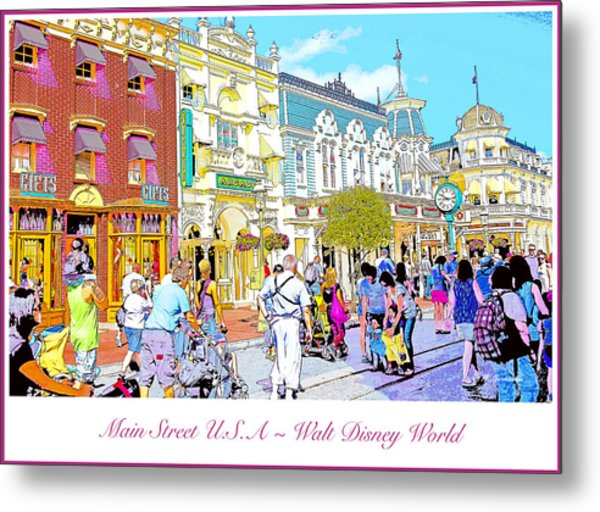 Main Street Usa Walt Disney World Poster Print Metal Print