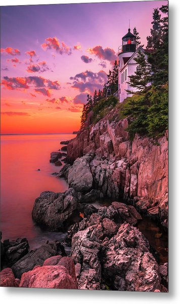 Maine Bass Harbor Lighthouse Sunset Metal Print