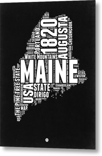 Maine Black And White Map Metal Print