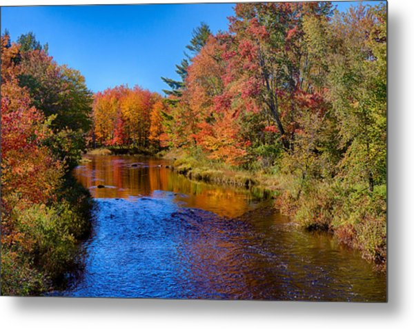 Maine Brook In Afternoon With Fall Color Reflection Metal Print