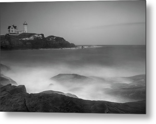 Metal Print featuring the photograph Maine Cape Neddick Lighthouse And Rocky Coastal Waves Bw by Ranjay Mitra