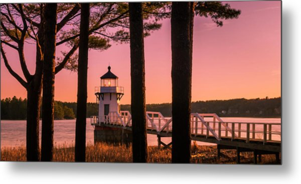 Maine Doubling Point Lighthouse At Sunset Panorama Metal Print