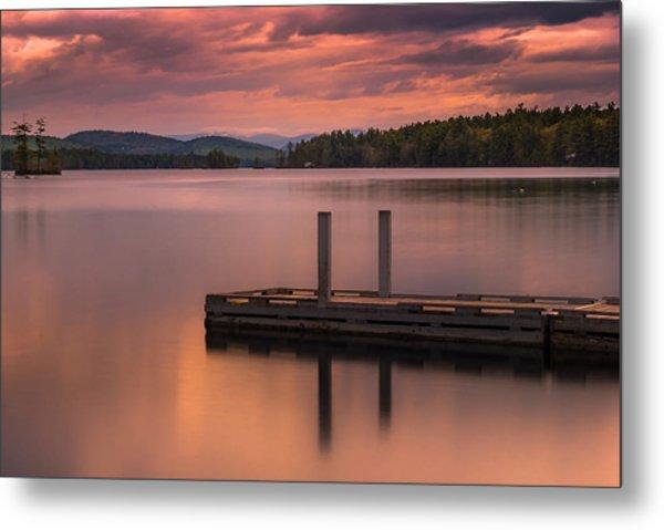 Maine Highland Lake Boat Ramp At Sunset Metal Print