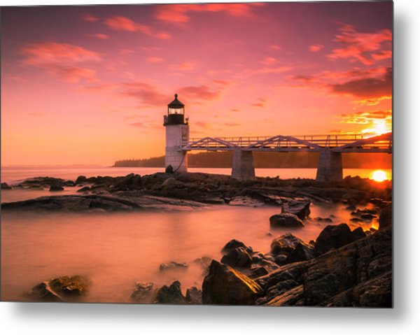Maine Lighthouse Marshall Point At Sunset Metal Print