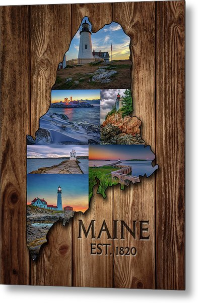 Maine Lighthouses Collage Metal Print