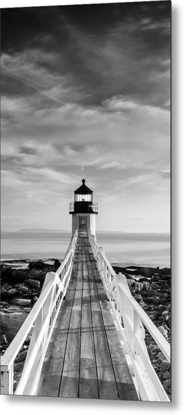 Maine Marshall Point Lighthouse Vertical Panorama In Black And White Metal Print