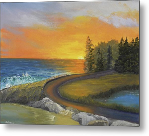 Maine Ocean Sunrise Metal Print