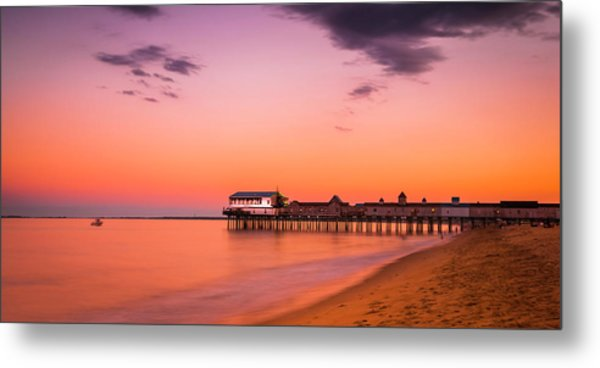 Maine Old Orchard Beach Pier At Sunset Metal Print