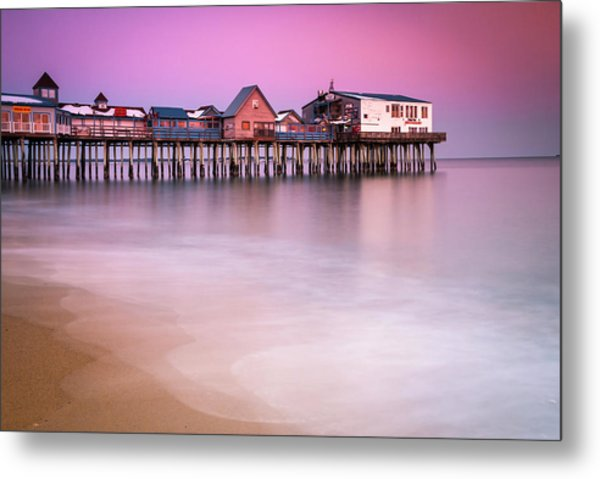 Maine Old Orchard Beach Pier Sunset  Metal Print