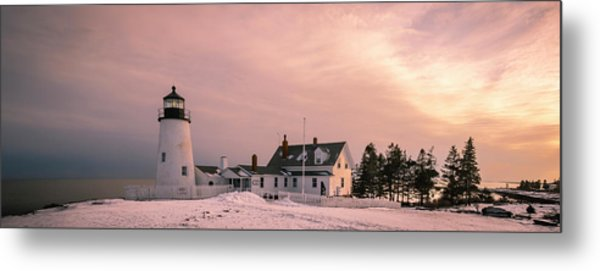 Maine Pemaquid Lighthouse After Winter Snow Storm Metal Print