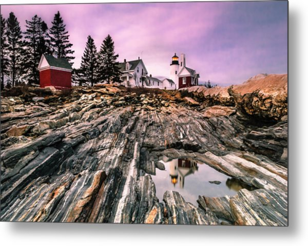 Maine Pemaquid Lighthouse Reflection In Summer Metal Print