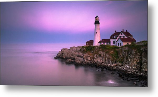 Metal Print featuring the photograph Maine Portland Headlight Blue Hour Panorama by Ranjay Mitra