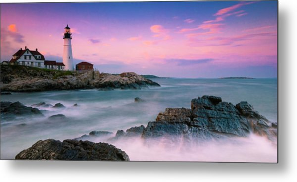 Maine Portland Headlight Lighthouse At Sunset Panorama Metal Print