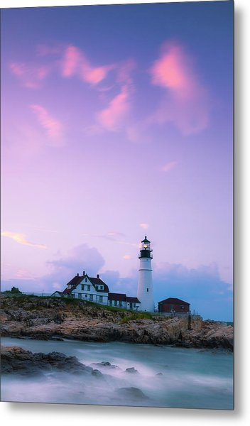 Maine Portland Headlight Lighthouse In Blue Hour Metal Print