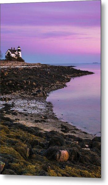 Maine Prospect Harbor Lighthouse Sunset In Winter Metal Print