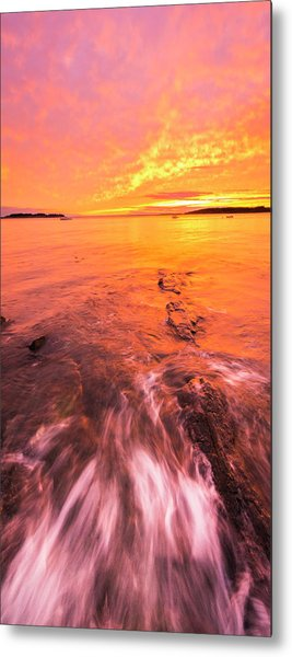 Maine Rocky Coastal Sunset At Kettle Cove Metal Print