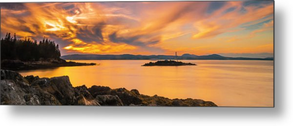 Maine Rocky Coastal Sunset In Penobscot Bay Panorama Metal Print