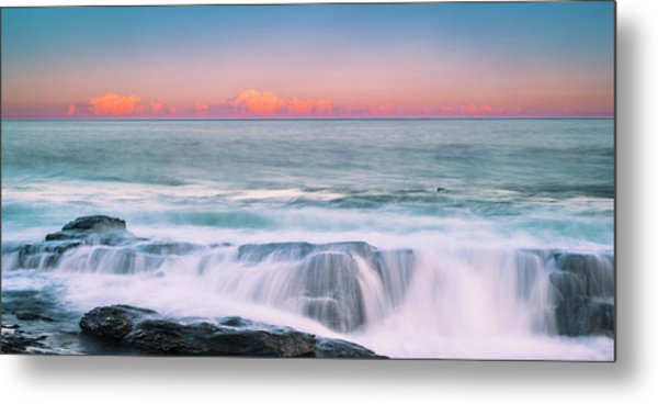 Maine Rocky Coastal Sunset Panorama Metal Print