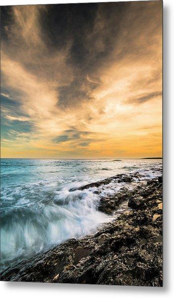 Maine Rocky Coastal Sunset Metal Print