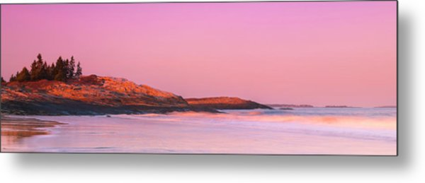 Maine Sheepscot River Bay With Cuckolds Lighthouse Sunset Panorama Metal Print