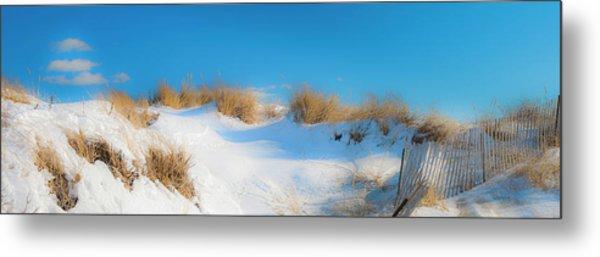 Maine Snow Dunes On Coast In Winter Panorama Metal Print