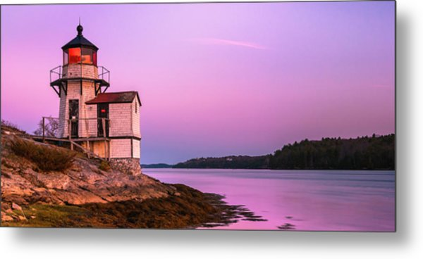 Maine Squirrel Point Lighthouse On Kennebec River Sunset Panorama Metal Print