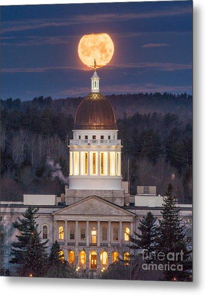 Maine State House Moon Metal Print