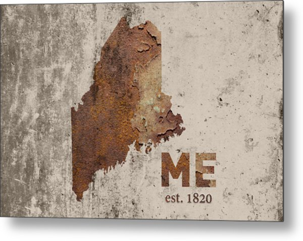 Maine State Map Industrial Rusted Metal On Cement Wall With Founding Date Series 021 Metal Print