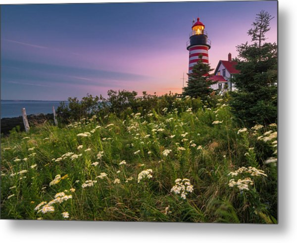 Maine West Quoddy Head Lighthouse Sunset Metal Print