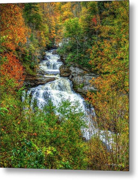 Majestic Drop Cullasaja Falls North Carolina Waterfall Art Metal Print