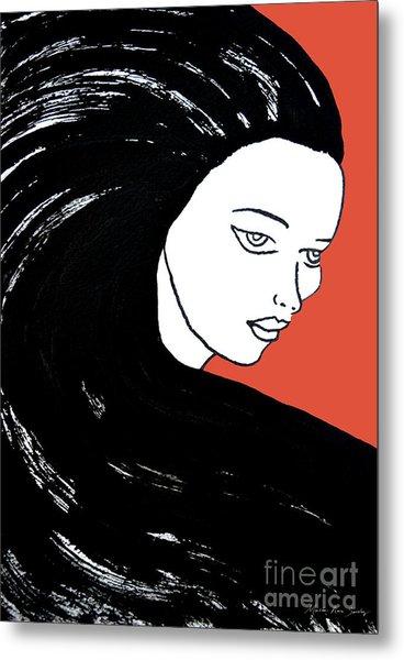 Majestic Lady J0715j Tangerine Tango Orange Pastel Painting 17-1463  E1523d F0532a Metal Print