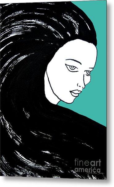 Majestic Lady J0715k Turquoise Green Pastel Painting 15-5519 41b6ab Metal Print