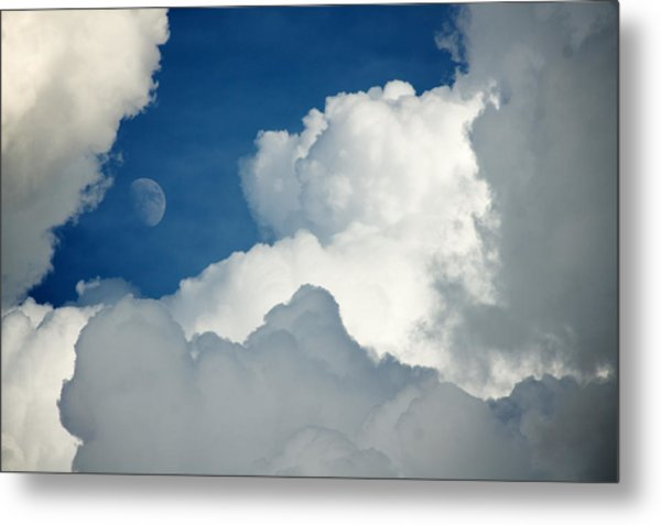 Majestic Storm Clouds With Moon Metal Print