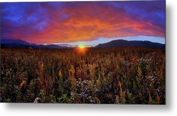 Majestic Sunset Over Cades Cove In Smoky Mountains National Park Metal Print