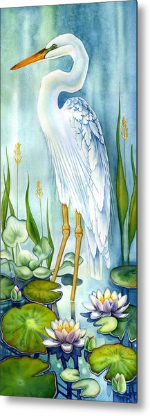 Majestic White Heron Metal Print