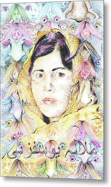 Malala-don't Ignore Us-sombra De Arreguin Metal Print