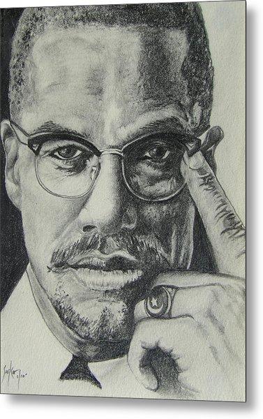 Malcolm X Metal Print by Stephen Sookoo