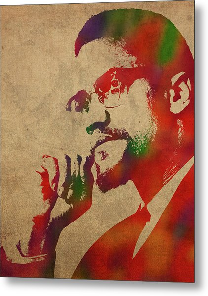 Malcolm X Watercolor Portrait Metal Print