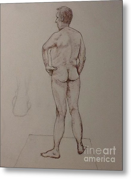 Male Life Drawing Metal Print