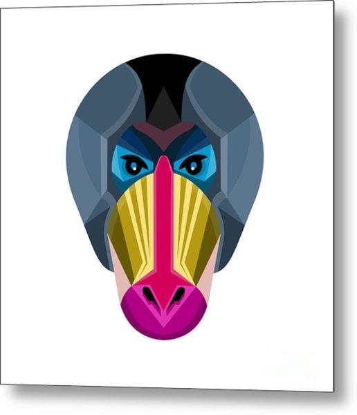 Male Mandrill Head Flat Icon Metal Print