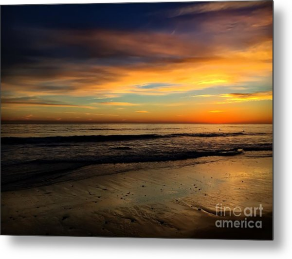 Malibu Beach Sunset Metal Print