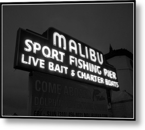 Malibu Pier Sign In Bw Metal Print