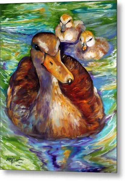 Mallard Mom And Ducklings Metal Print