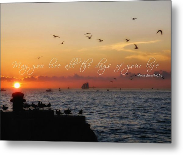 Mallory Square Sunset Quote Metal Print by JAMART Photography